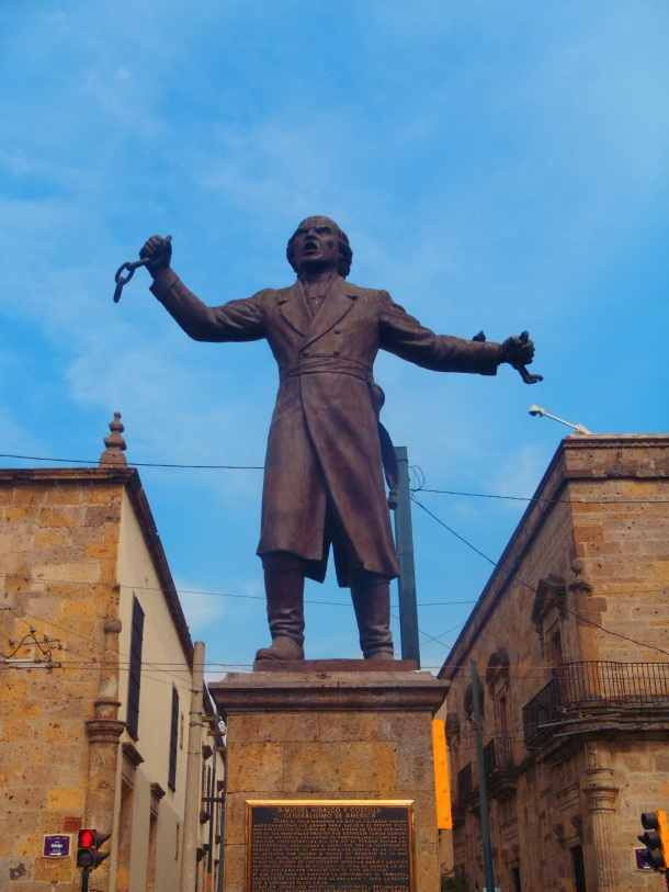 Statue of Miguel Hidalgo y Costilla: Mexican priest and leader of Mexican war of independence.