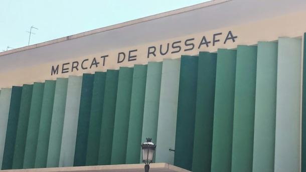 """Mercado Russafa- """"Mercat"""" is the Catalan, spoken in Valencia."""