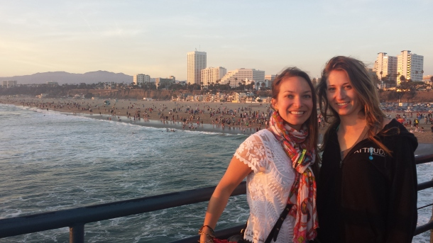 Sunset on Santa Monica pier; windblown from cruising in Brielle's convertible