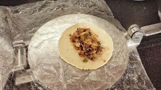prep of mushroom tortilla
