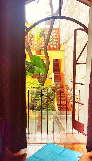 Manduka travel yoga mat overlooking garden at Red Tree House, Condesa, DF