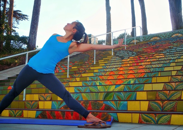 Trikonasana on California Street steps
