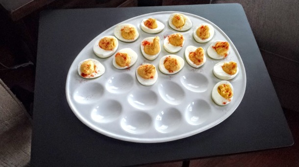 Shane's mom sent us this egg plate!