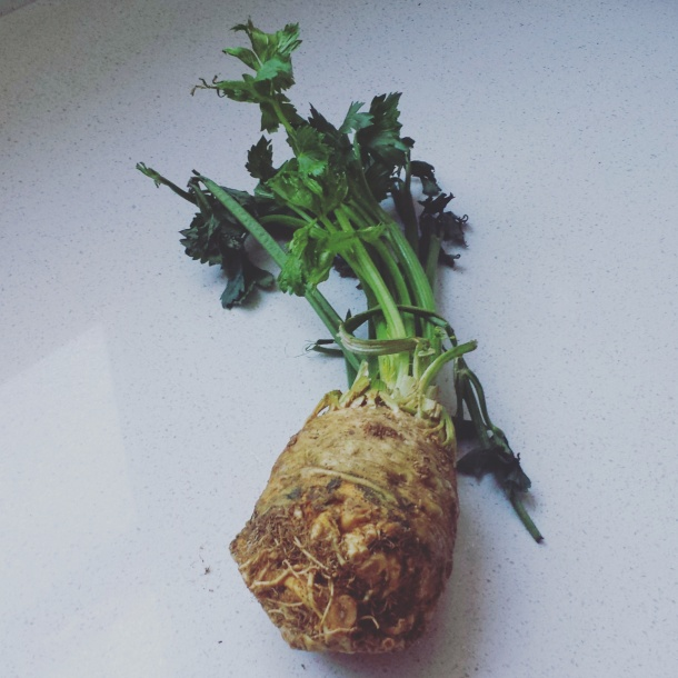 My first (and maybe last) time working with celery root.