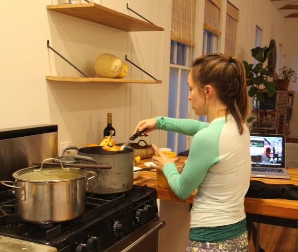 There are so few pictures ever of me cooking! This is in our cousins' kitchen in Texas.